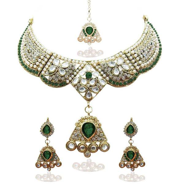 Tiptop Fashions  Green Austrian Stone Necklace Set With Maang Tikka  -  Imitation Jewellery - 1100623 - 11006