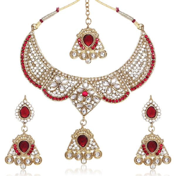 Tiptop Fashions  Pink Austrian Stone Gold Plated Necklace Set  -  Imitation Jewellery - 1100634 - 11006