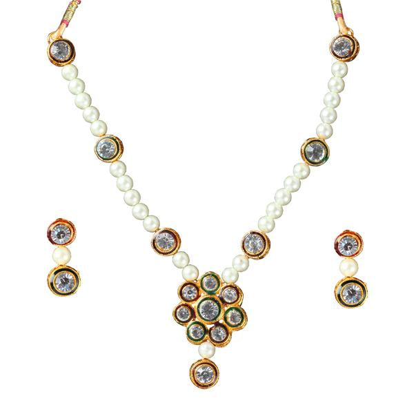 Tiptop Fashions  Maroon Austrian Stone Gold Plated Necklace Set - Tiptop Fashions