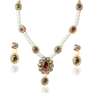 Tiptop Fashions  Maroon Austrian Stone Gold Plated Necklace Set  -  Imitation Jewellery - 1100714 - 11007