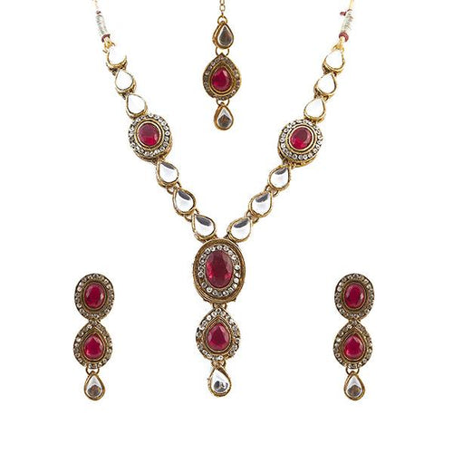 Tiptop Fashions Red Kundan Necklace Set With Maang Tikka - 1100722