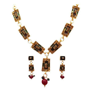 Tiptop Fashions  Maroon Austrian Stone Gold Plated Necklace Set  -  Imitation Jewellery - 1100814 - 11008