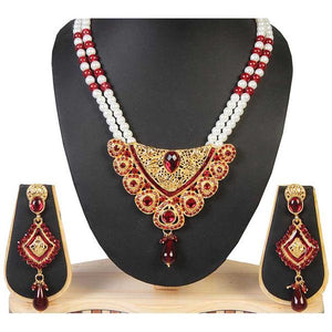 Tiptop Fashions  Maroon Austrian Stone Pearl Drop Necklace Set  -  Imitation Jewellery - 1100905 - 11009