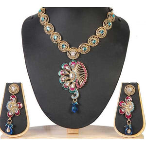 Tiptop Fashions  Blue Meenakari Gold Plated Necklace Set  -  Imitation Jewellery - 1100909 - 11009