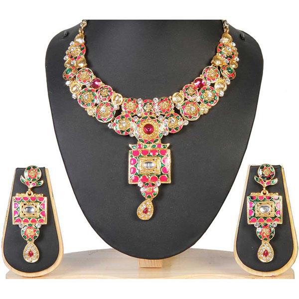 Tiptop Fashions  Pink Meenakari Gold Plated Necklace Set  -  Imitation Jewellery - 1100915 - 11009