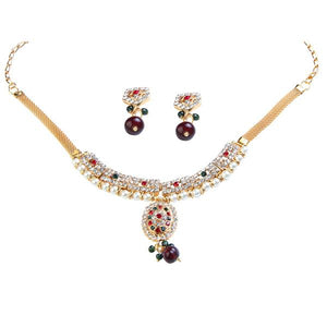 Tiptop Fashions  Gold Plated Austrian Stone And Pearl Necklace Set  -  Imitation Jewellery - 1101018 - 11010