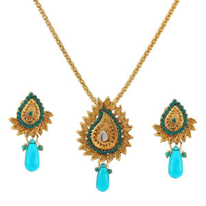 Tiptop Fashions  Blue Austrian Stone Drop Pendant Set  -  Imitation Jewellery - 1101024 - 11010