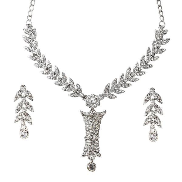 Tiptop Fashions  White Austrian Stone Leaf Rhodium Plated Necklace Set  -  Imitation Jewellery - 1101101 - 11011