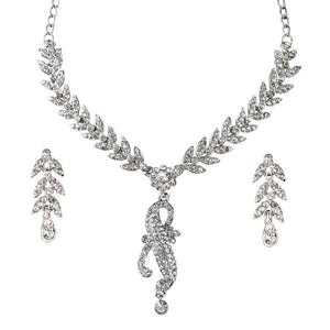 Tiptop Fashions  White Austrian Stone Leaf Rhodium Plated Necklace Set  -  Imitation Jewellery - 1101102 - 11011