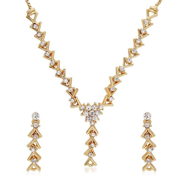 Tiptop Fashions  White Austrian Stone Gold Plated Necklace Set  -  Imitation Jewellery - 1101119 - 11011
