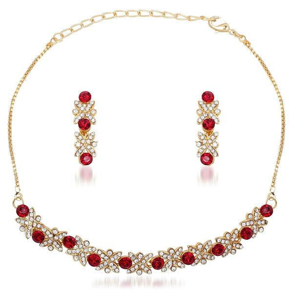 Tiptop Fashions  Red Austrian Stone Gold Plated Necklace Set  -  Imitation Jewellery - 1101120 - 11011