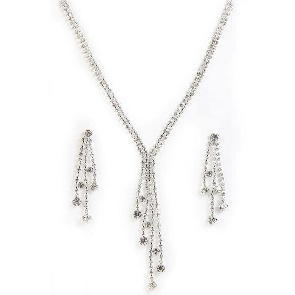Tiptop Fashions  Austrian Stone Rhodium Plated Necklace Set  -  Imitation Jewellery - 1101209 - 11012