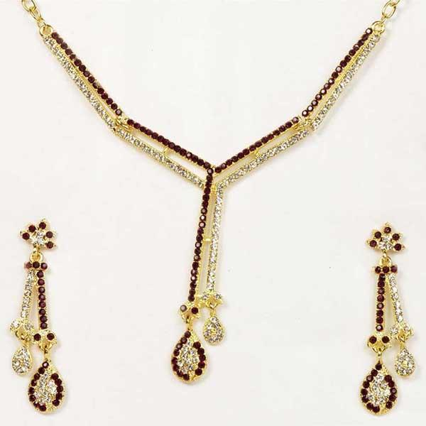 Tiptop Fashions  Purple Austrian Stone Gold Plated Necklace Set  -  Imitation Jewellery - 1101318 - 11013