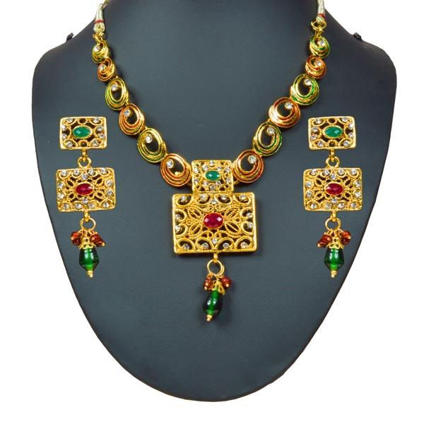 Tiptop Fashions  Meenakari Austrian Stone Necklace Set - Tiptop Fashions