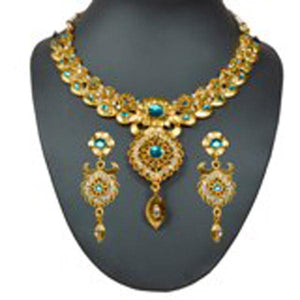 Tiptop Fashions  Gold Plated Green Austrian Stone Necklace Set - Tiptop Fashions