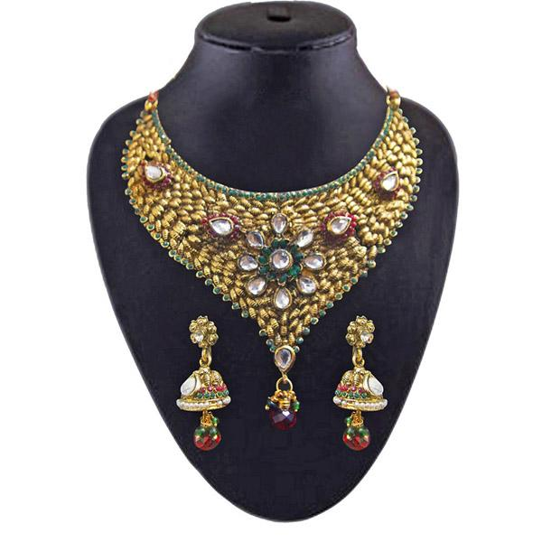 Tiptop Fashions  Meenakari Austrian stone Gold plated Necklace Set  -  Imitation Jewellery - 1102014 - 11020
