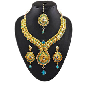 Tiptop Fashions  Austrian Stone kundan Necklace Set With Maang Tikka - Tiptop Fashions