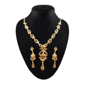 Tiptop Fashions  Brown Austrian Stone Gold Plated Necklace Set - Tiptop Fashions