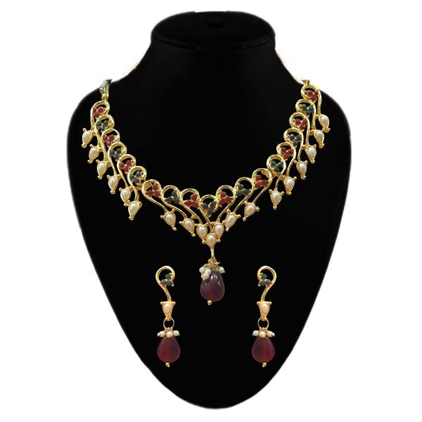 Tiptop Fashions  Gold Plated Maroon Austrian Stone Necklace Set - Tiptop Fashions