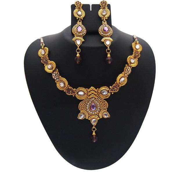 Tiptop Fashions  Gold Plated Purple Austrian Stone Necklace Set  -  Imitation Jewellery - 1102118 - 11021