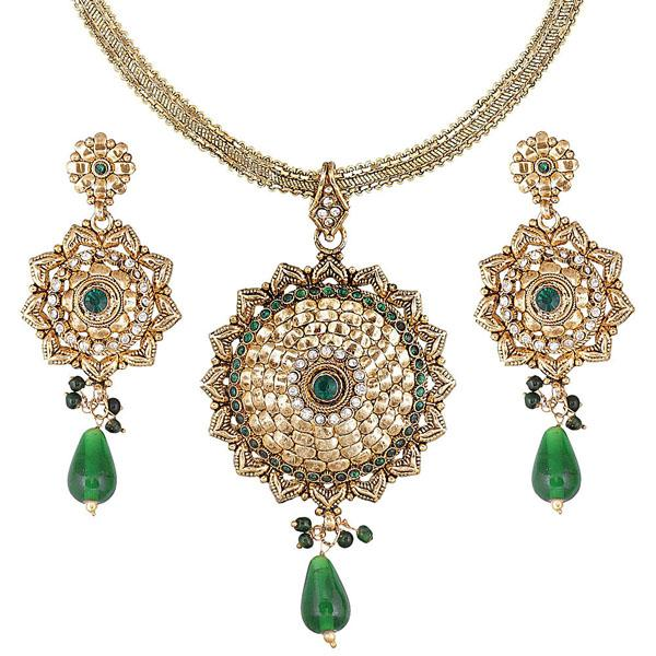 Tiptop Fashions  Green Austrian stone Gold Plated Necklace Set  -  Imitation Jewellery - 1102129 - 11021