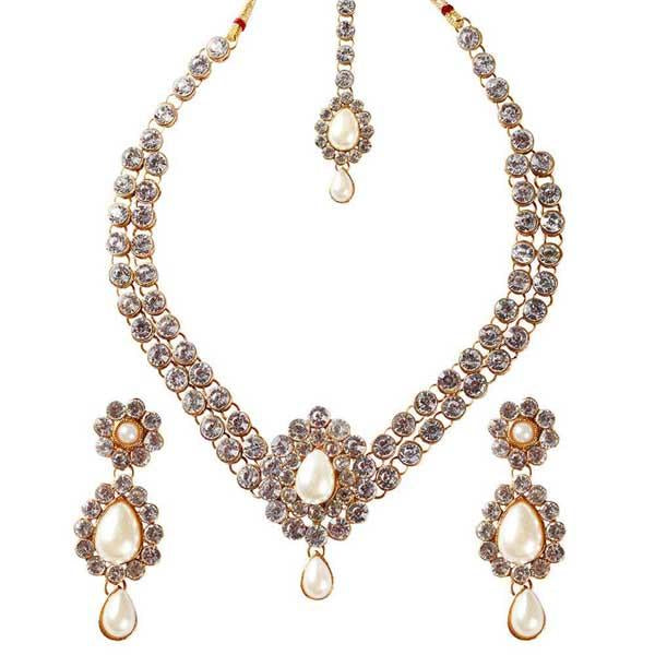 Tiptop Fashions  Charms Austrian Stone Necklace Set With Maang Tikka  -  Imitation Jewellery - 1102320 - 11023