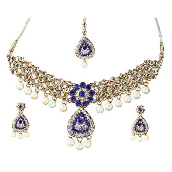 Tiptop Fashions  Charms Gold Plated Necklace Set With Maang Tikka - Tiptop Fashions
