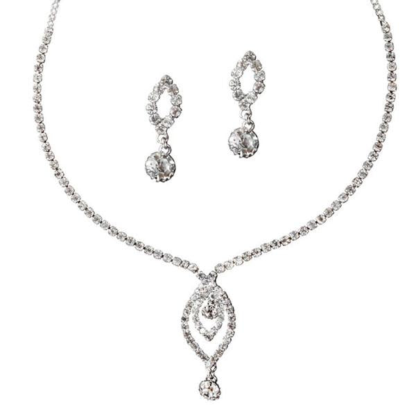 Tiptop Fashions  Austrian Stone Rhodium Plated Necklace Set  -  Imitation Jewellery - 1102401 - 11024