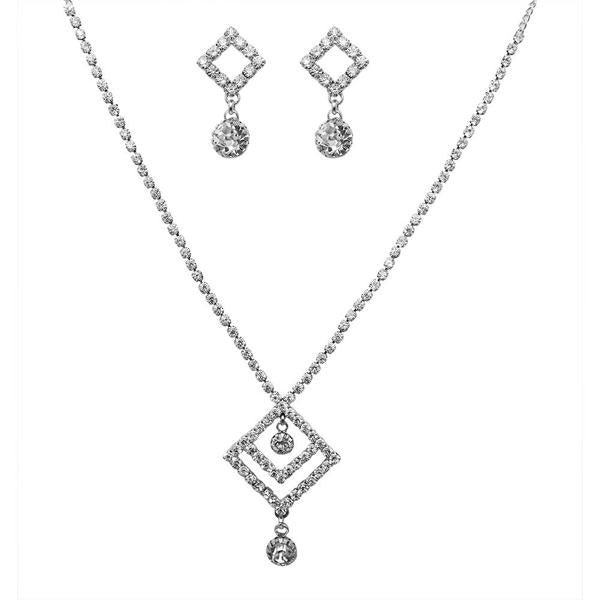 Tiptop Fashions  Austrian Stone Silver Plated Necklace Set  -  Imitation Jewellery - 1102406 - 11024