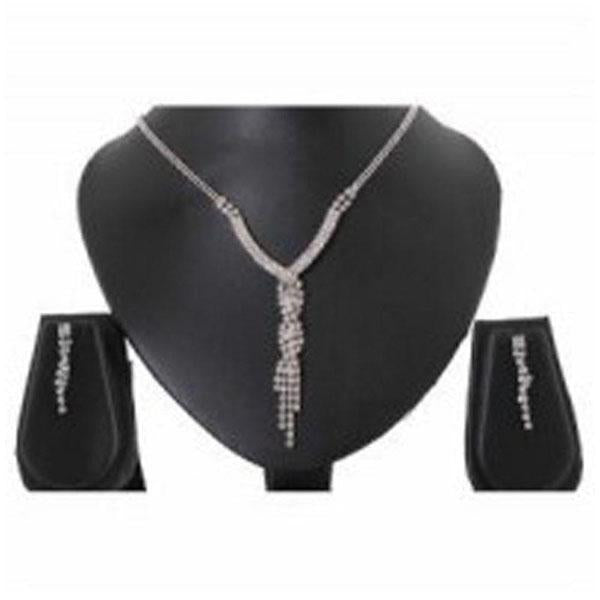 Tiptop Fashions  Rhodium Plated Austrian Stone Necklace Set  -  Imitation Jewellery - 1102407 - 11024