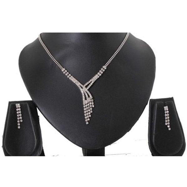 Tiptop Fashions  Austrian Stone Rhodium Plated Necklace Set  -  Imitation Jewellery - 1102408 - 11024
