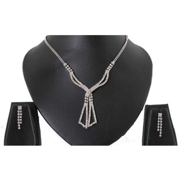 Tiptop Fashions  Austrian Stone Rhodium Plated Necklace Set  -  Imitation Jewellery - 1102410 - 11024