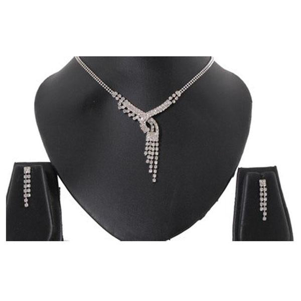 Tiptop Fashions  Austrian Stone Silver Plated Necklace Set  -  Imitation Jewellery - 1102411 - 11024