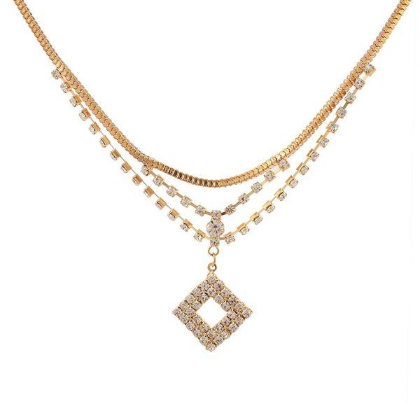 Tiptop Fashions  Rose Gold Plated Austrian Stone Chain Necklaces  -  Imitation Jewellery - 1102420 - 11024