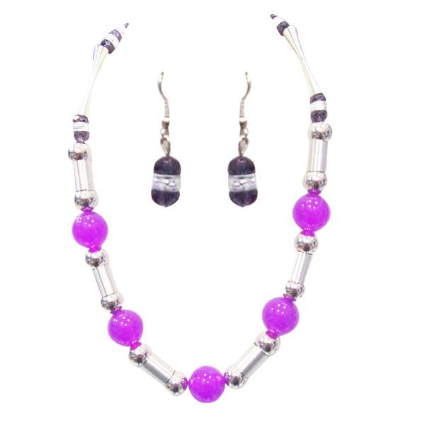 Tiptop Fashions  Purple Beads Rhodium Plated Necklace Set - Tiptop Fashions