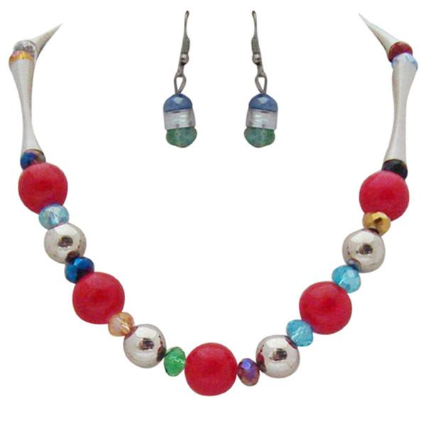 Tiptop Fashions  Multicolor Beads Rhodium Plated Necklace Set  -  Imitation Jewellery - 1102515 - 11025