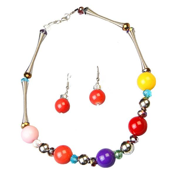 Tiptop Fashions  Multicolor Beads Rhodium Plated Statement Necklace Set  -  Imitation Jewellery - 1102516 - 11025