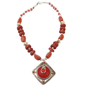 Tiptop Fashions Red Beads Fusion Necklace Set - 1102535