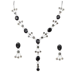 Tiptop Fashions  Black Austrian Stone Rhodium Plated Necklace Set  -  Imitation Jewellery - 1102803 - 11028