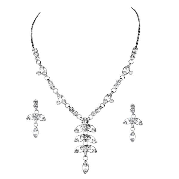 Tiptop Fashions  Austrian Stone Rhodium Plated Leaf Design Necklace Set - Tiptop Fashions