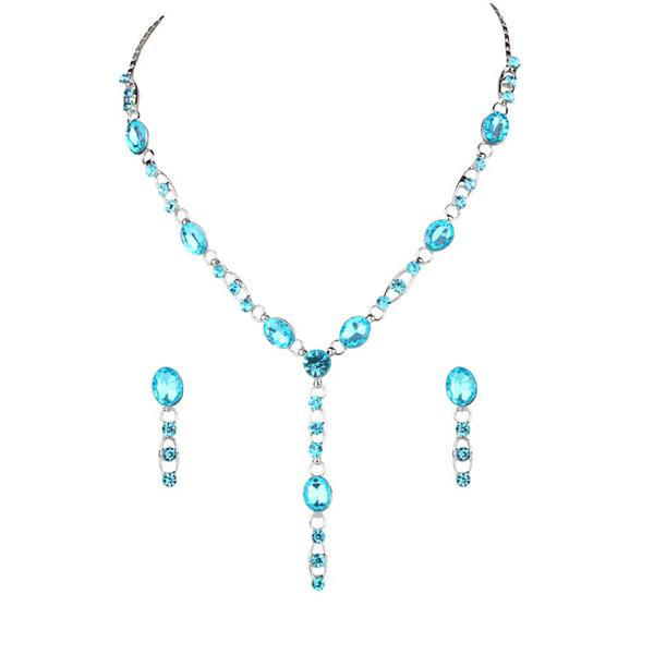 Tiptop Fashions  Blue Austrian Stone Rhodium Plated Necklace Set  -  Imitation Jewellery - 1102805 - 11028