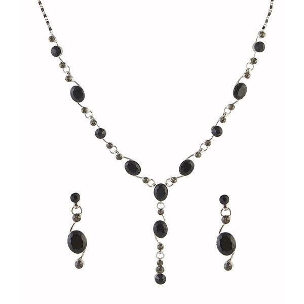 Tiptop Fashions  Black Austrian Stone Rhodium Plated Necklace Set  -  Imitation Jewellery - 1102806 - 11028
