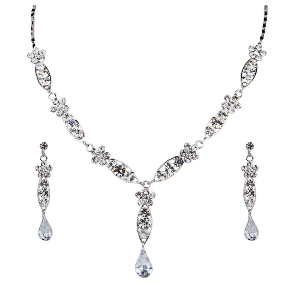 Tiptop Fashions  Austrian Stone Rhodium Plated Necklace Set  -  Imitation Jewellery - 1102808 - 11028