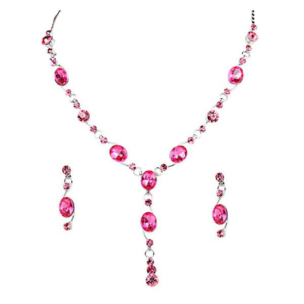 Tiptop Fashions  Pink Austrian Stone Rhodium Plated Necklace Set  -  Imitation Jewellery - 1102810 - 11028