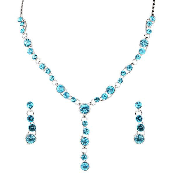 Tiptop Fashions  Blue Austrian Stone Rhodium Plated Necklace Set - Tiptop Fashions