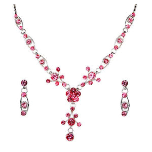 Tiptop Fashions  Pink Austrian Stone Rhodium Plated Necklace Set  -  Imitation Jewellery - 1102819 - 11028