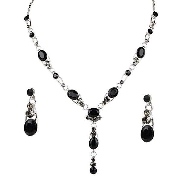 Tiptop Fashions  Black Austrian Stone Rhodium Plated Necklace Set  -  Imitation Jewellery - 1102820 - 11028