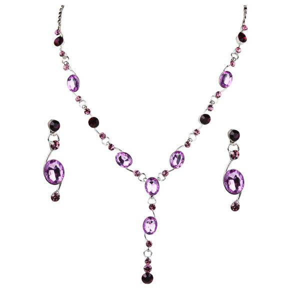 Tiptop Fashions  Purple Austrian Stone Rhodium Plated Necklace Set  -  Imitation Jewellery - 1102821 - 11028