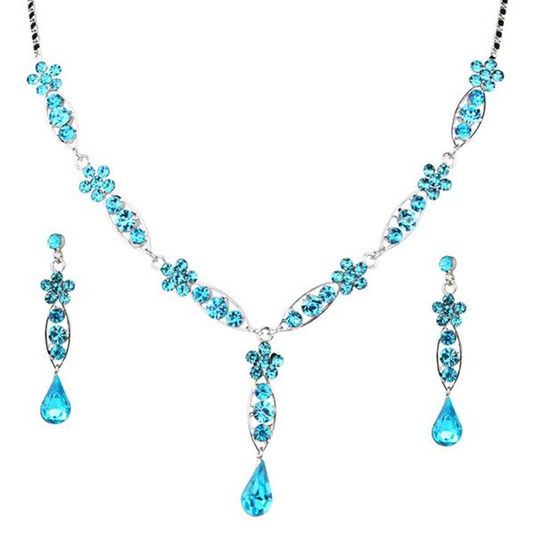 Tiptop Fashions  Blue Austrian Stone Rhodium Plated Necklace Set  -  Imitation Jewellery - 1102823 - 11028