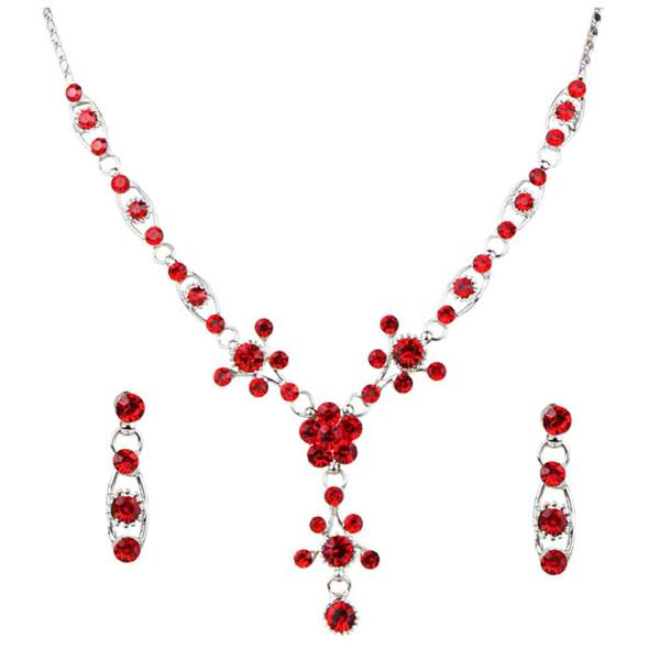 Tiptop Fashions  Red Austrian Stone Silver Plated Necklace Set  -  Imitation Jewellery - 1102826 - 11028